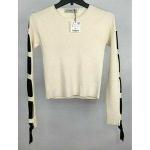 Zara Knit Women's Crop Ribbed Long Sleeve Sweater